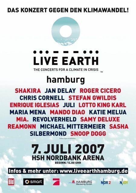 Live Earth: in Hamburg, mit Shakira, Iglesias, uva.